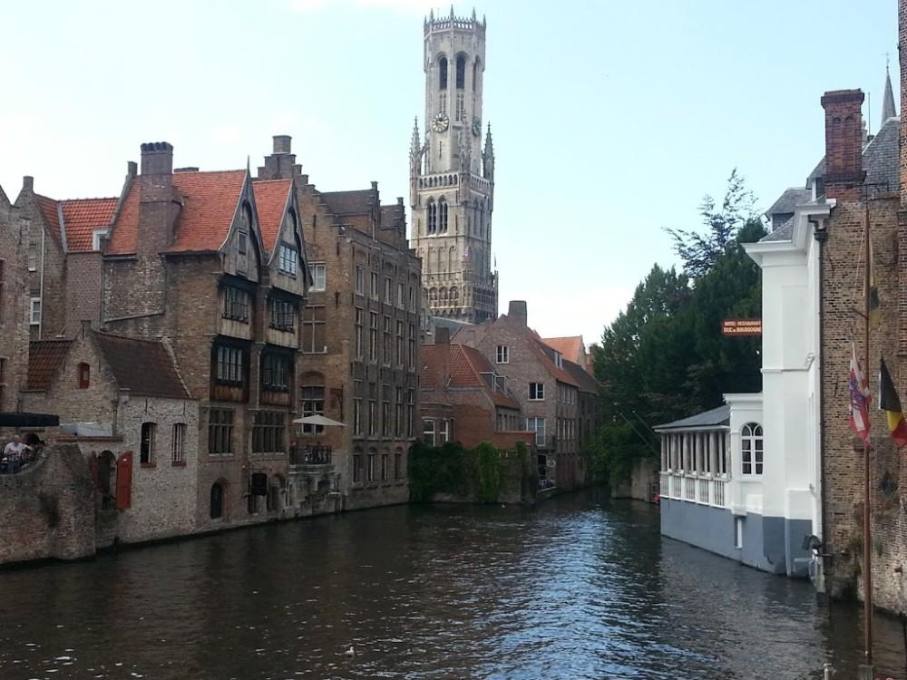 day trip to Bruges Clock Tower Canal