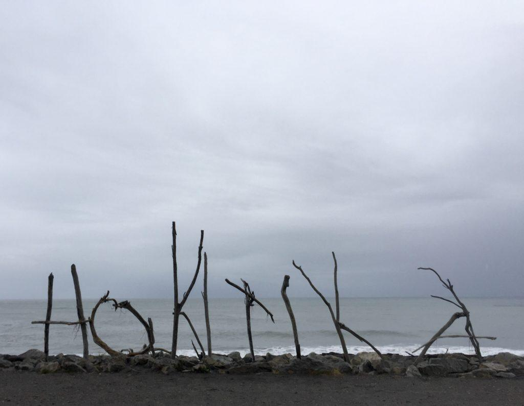 Hokitika Beach driftwood sign