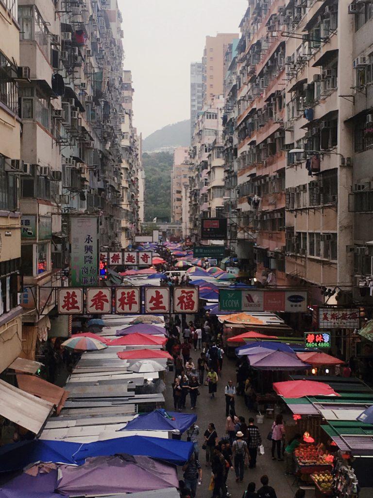 mang kok markets viewed from bridge